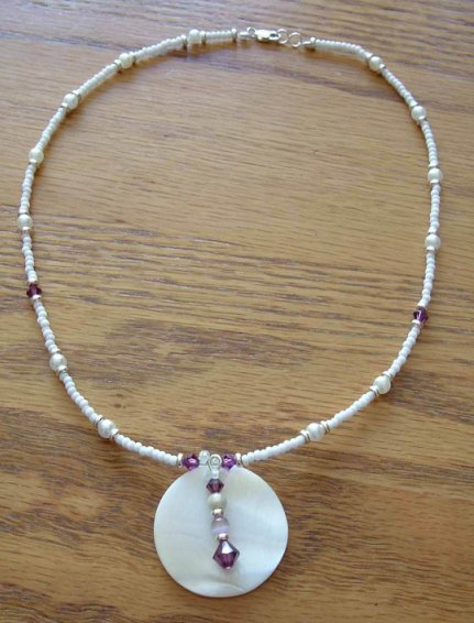 Amethyst Crystal and white Pearl Necklace Necklace