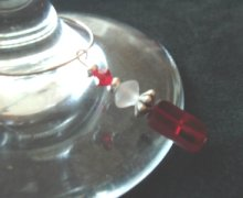Red glass rectangle wine charm
