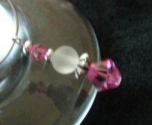 Rose crystal wine charm